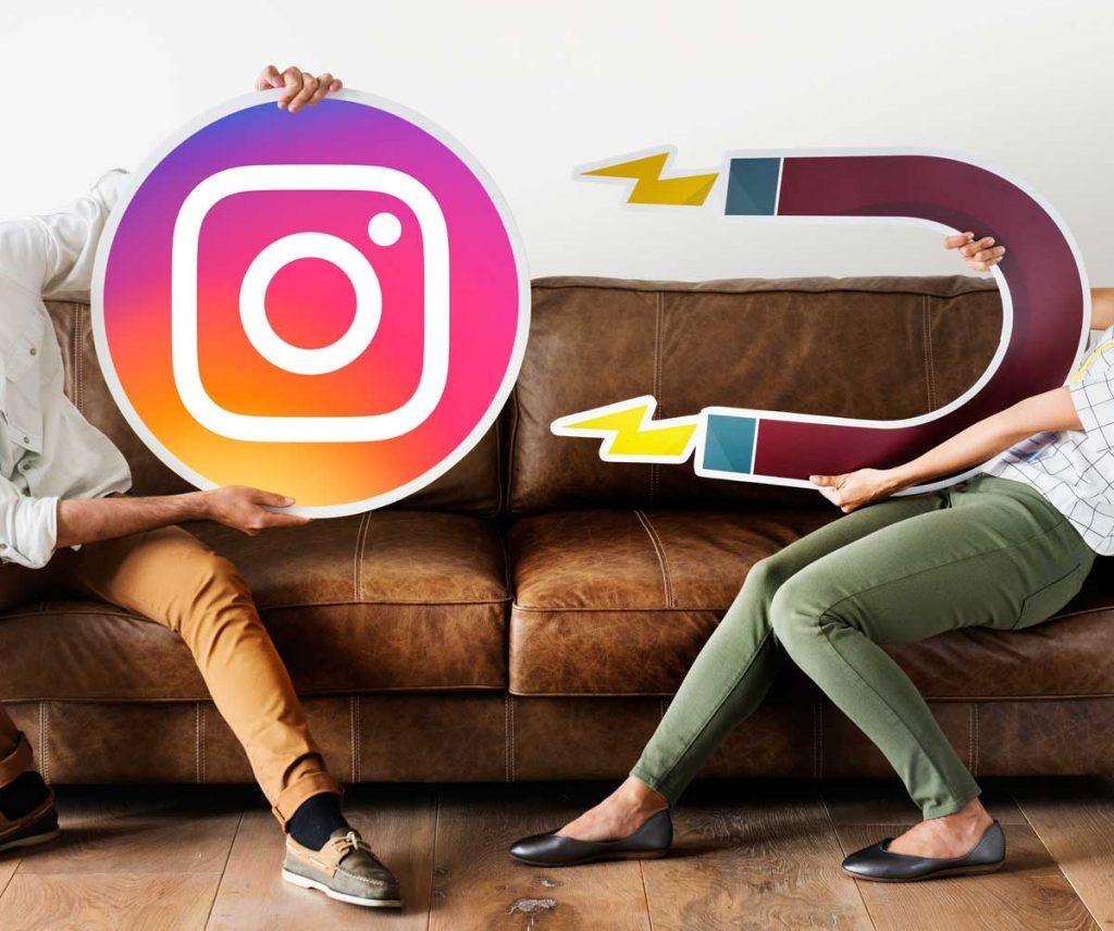 Logo do Instagram e um ímã ilustrando a ideia de captação.