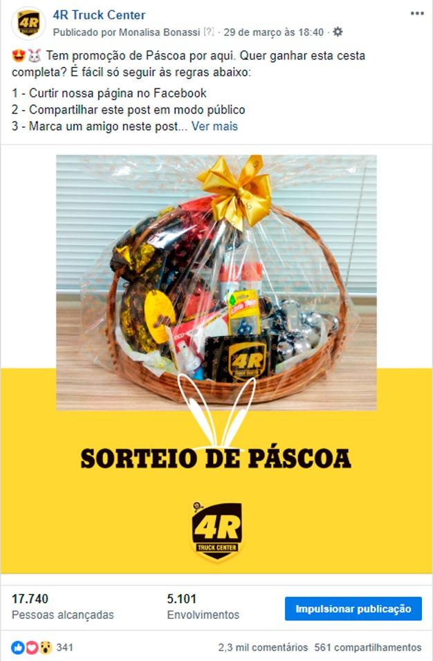 Imagem de uma promoção de páscoa realizada no instagram, com uma cesta ao centro - Realizado pela empresa 4R Truck Center