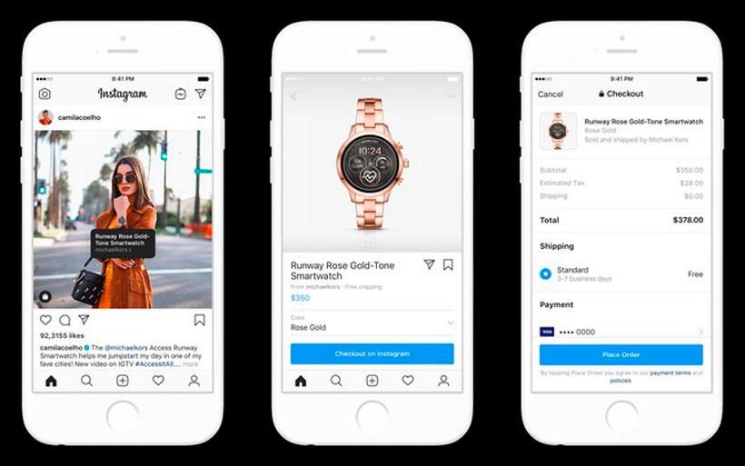 Imagem exibindo as novidades no Instagram sobre as facilidades de compras na plataforma.