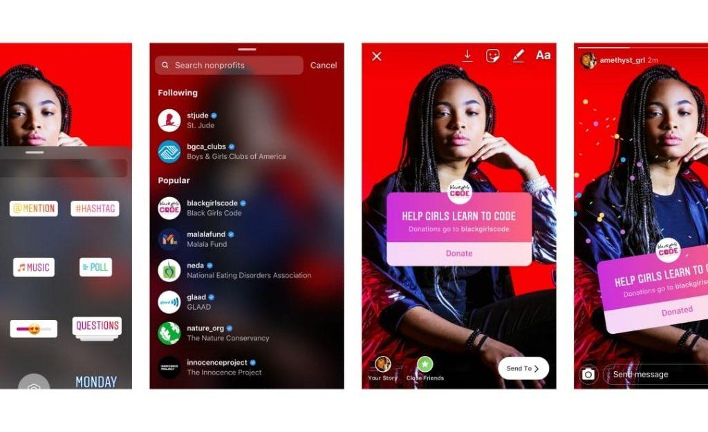 Imagem mostrando uma menina no instagram exibindo o novo adesivo para doações da plataforma.