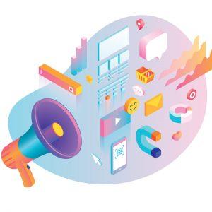 Imagem com vários elementos que remetem a divulgação para aumentar a visibilidade da empresa, como um megafone, emojis e elementos gráficos