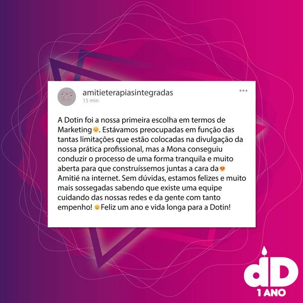 Depoimento, em formato de post do instagram, da Amitié sobre a Dotin Digita