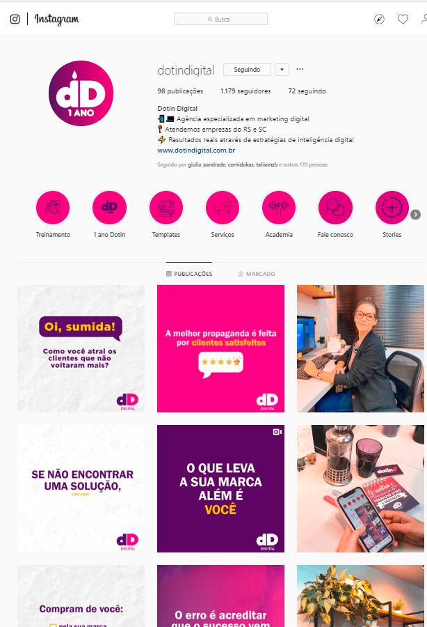 Imagem do perfil da Dotin ilustrando como criar um perfil para vender mais nas redes sociais.