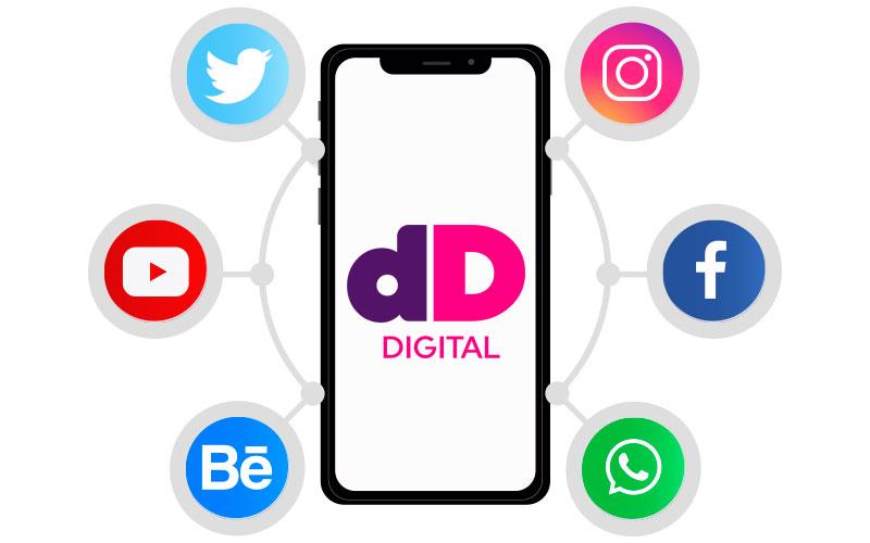 Imagem de um smartphone rodeado de logos de redes sociais, no centro o smartphone exibe o logo da Dotin Digital.
