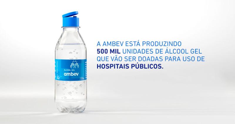 Imagem ilustrando a inovação da Ambev durante a pandemia de coronavírus, que doou álcool gel aos hospitais públicos
